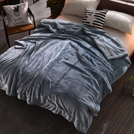 Solid Light Peacock Blue Flannel Reversible Plush Super Soft Fluffy Throw/Bed Blanket