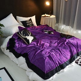 Solid Elegant Purple Plush with Black Edge Super Soft Fluffy Bed Blanket