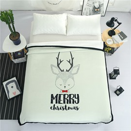 Merry Christmas Reindeer Printed Plush Reversible Sherpa Nordic Fluffy Bed Blanket