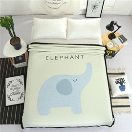 Blue Elephant Printed Plush Reversible Sherpa Nordic Fluffy Bed Blanket