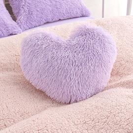 Purple Plush Heart Shape Decorative Fluffy Throw Pillow