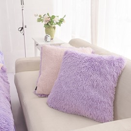 Purple Reversible Pink One Piece Decorative Square Throw Pillow