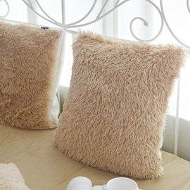 Solid Camel Square Decorative Fluffy Throw Pillows