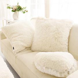 Creamy White Square Decorative Fluffy Throw Pillows