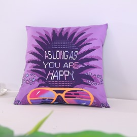 Happiness Pineapple Carnival Printed Decorative Square Polyester Throw Pillowcases