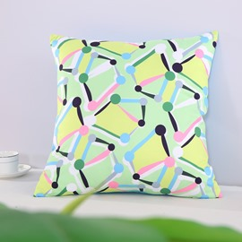 Yellow Spotted Flashbulb Printed Decorative Square Polyester Throw Pillowcases