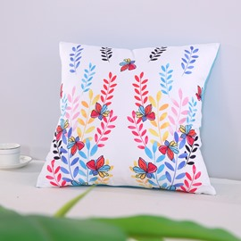 Colorful Butterflies and Leaves Strings Pattern Decorative Square Polyester Throw Pillowcases