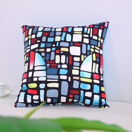 Multi-Color Glazed Bricks Buildings Decorative Square Polyester Throw Pillowcases