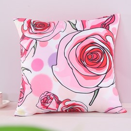 Orange Roses Blooming Pattern Decorative Square Polyester Throw Pillowcases