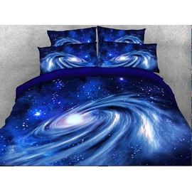Onlwe 3D Spiral Galaxy Universe 4-Piece Blue Bedding Sets/Duvet Covers