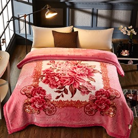 Pink Peonies Blossom Printed 2 Ply Reversible Heavy Plush Raschel Bed Blanket