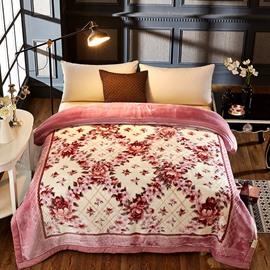 Pale Mauve Flowers Printed 2 Ply Reversible Heavy Plush Raschel Bed Blanket