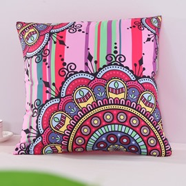 Rosy Floral Mandala Pattern Exotic Style Decorative Square Polyester Throw Pillowcases