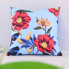 Chic Peony Pattern Blue Decorative Square Polyester Throw Pillowcases