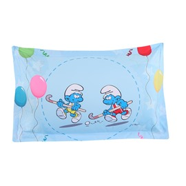 Hockey Smurfs with Colorful Balloons One Piece Blue Bed Pillowcase