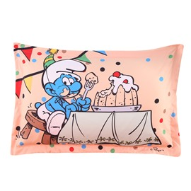 Happy Birthday Smurf Eating Cake Printed One Piece Bed Pillowcase
