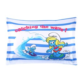 Surfing Smurf and Smurfette Catching the Wave One Piece Bed Pillowcase