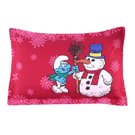 Smurfs Skiing and Christmas Snowman Printed One Piece Bed Pillowcase