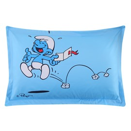 Happy Smurf Laughing and Jumping Printed One Piece Blue Bed Pillowcase