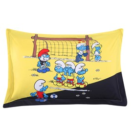 The Smurfs Play in Football Match Printed One Piece Bed Pillowcase