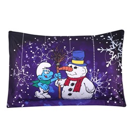 The Smurf Building Snowman and Snowflake One Piece Bed Pillowcase