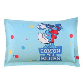 Smurf Playing Soccer Printed One Piece Bed Pillowcase