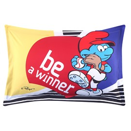 Smurf Sports Activity Be a Winner One Piece Bed Pillowcase