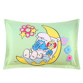 Baby Smurf with Moon Yellow Stars Printed One Piece Bed Pillowcase