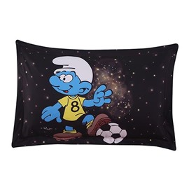 Soccer Smurf Flashlight Printed One Piece Bed Pillowcase