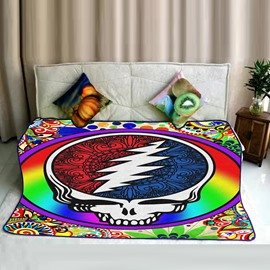 Chic and Colorful Skull Pattern Flannel Bed Blankets