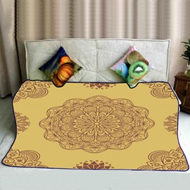 Floral Mandala Pattern Exotic Style Yellow Flannel Bed Blankets