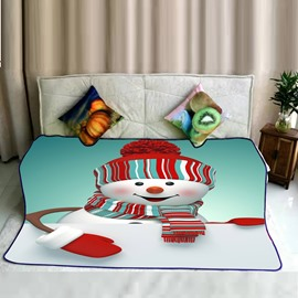 Cute Snowman and Christmas Dress Pattern Flannel Bed Blankets