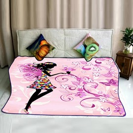 Floral Fairy with Butterflies Wings Charming Pattern Pink Flannel Bed Blankets