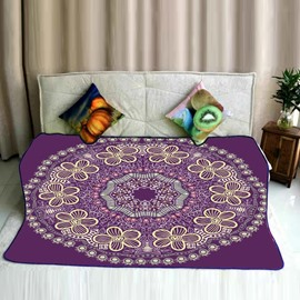 Floral Mandala Pattern Purple Exotic Style Flannel Bed Blankets
