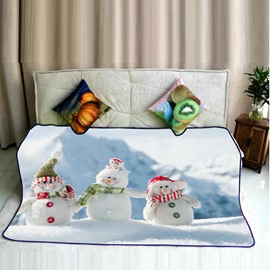 Three Cute Snowmen Pattern Flannel Super Soft Bed Blankets
