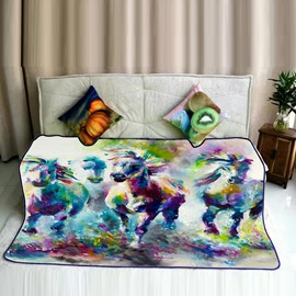 Watercolor Painting Running Horses Pattern Flannel Bed Blankets
