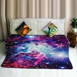 Cool Galaxy Space and Stars Pattern Flannel Soft Bed Blankets