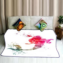 Water Painting Colorful Mermaid Pattern Flannel Bed Blankets