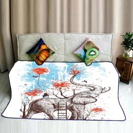 Elephant Having Fun in Forest Pattern Flannel Bed Blankets