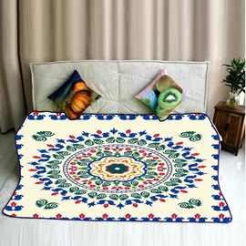 Floral Mandala with Green Pattern Flannel Soft Bed Blankets