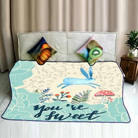 Cartoon Blue Rabbit Jumping and Mushroom Pattern Flannel Bed Blankets