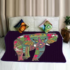 Floral Elephant Shape and Natural Elements Flannel Bed Blankets