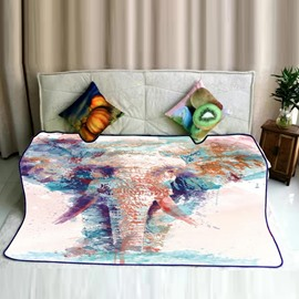 Colorful Elephant Drinking Water Printed Flannel Bed Blankets