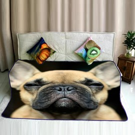 Serious Pug Dog Face Printed Flannel Bed Blankets