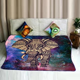 Elephant Walking and Galaxy Space Pattern Flannel Bed Blankets