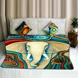 Indian Elephants Pattern Exotic Style Flannel Bed Blankets