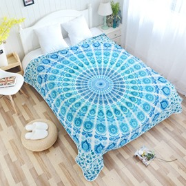 Blue Mandala Pattern Ethnic Style Flannel Bed Blankets