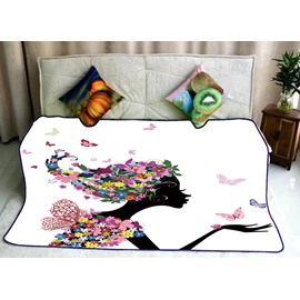 Floral Dressing Hair Girls Kissing Right Butterflies Printed Flannel Bed Blankets