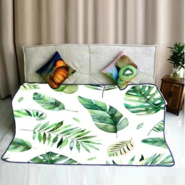 Natural Tropical Leaves Pattern Fresh Style Flannel Soft Bed Blankets