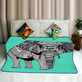 Grey Elephant Pattern Light Green Flannel Bed Blankets